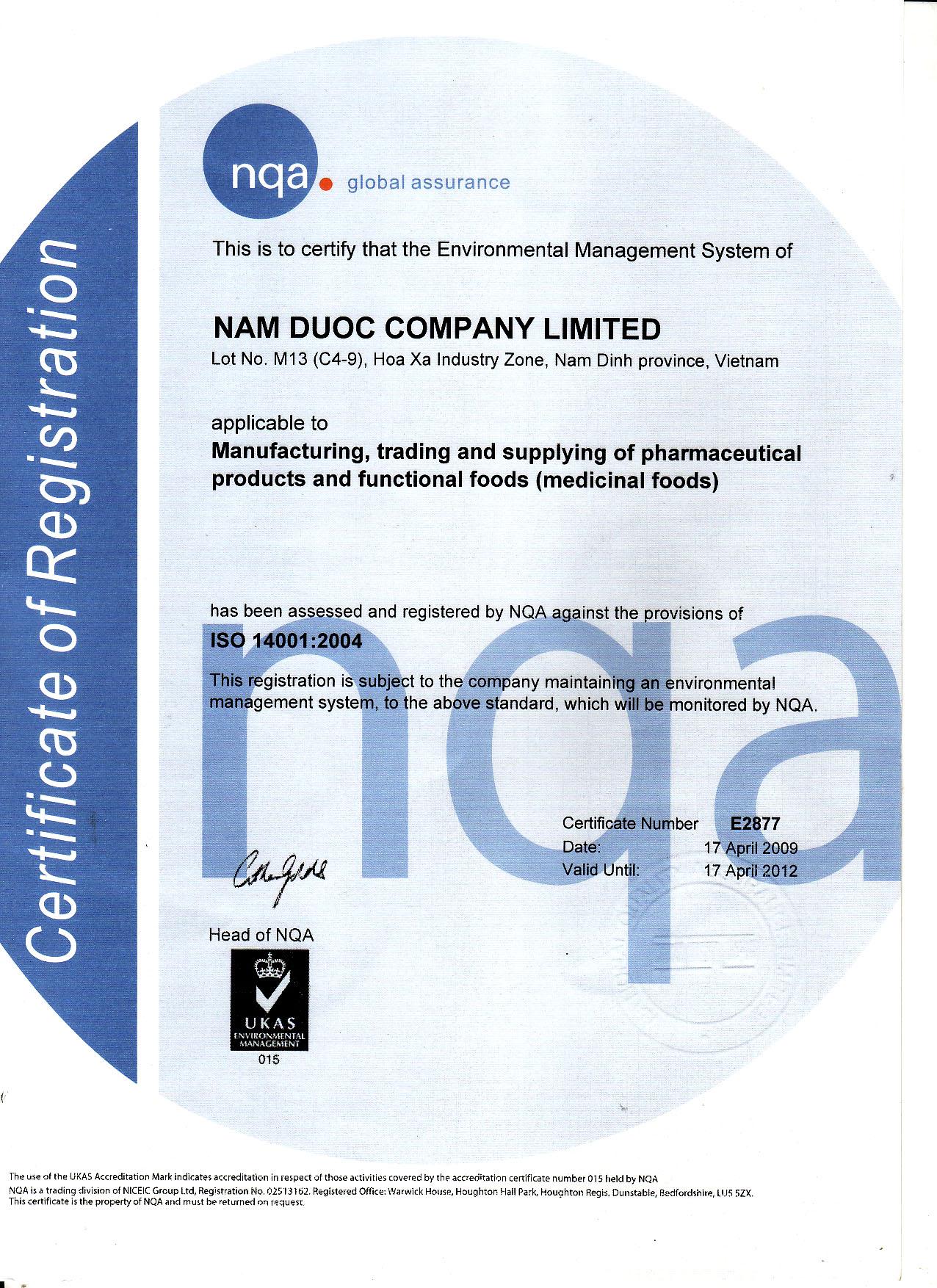 Ảnh 3: Giấy chứng nhận tiêu chuẩn ISO 14000:2004 do tổ chức NQA Vương Quốc Anh xác thực