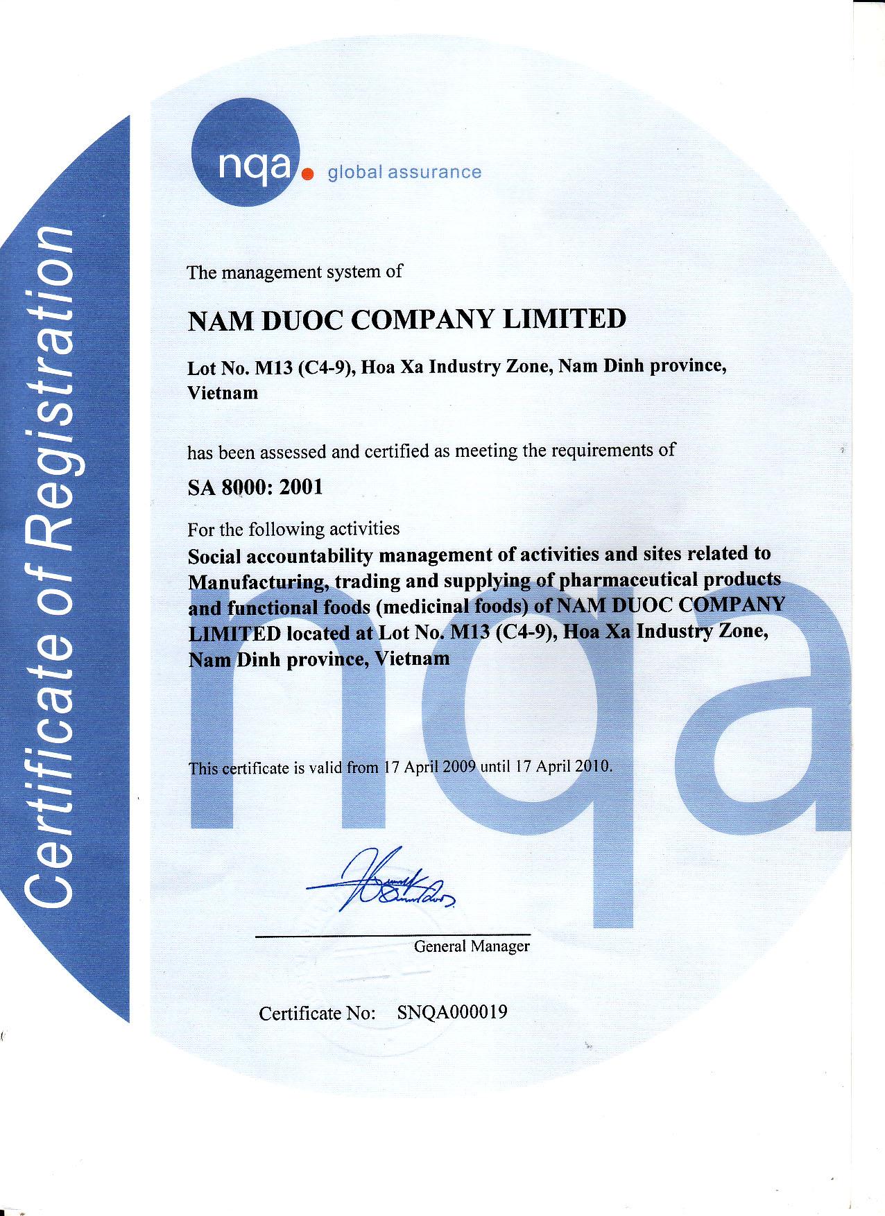 Ảnh 4: Giấy chứng nhận tiêu chuẩn SA 8000: 2001 do tổ chức NQA Vương Quốc Anh xác thực